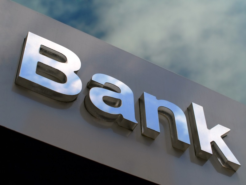 Bank office sign